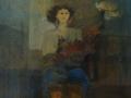 Donna e fiori - 1988 - 61x61 - Ezio Barni