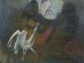 Gallo con figura - 1987 - 37x41 - Ezio Barni